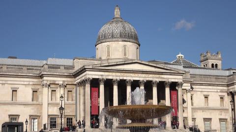 National Gallery fountain Trafalgar Square London England 4K Footage