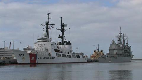 Navy Coast Guard ships Pearl Harbor Honolulu Hawaii M HD Footage