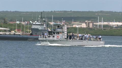 Navy shuttle submarine Pearl Harbor Hawaii M HD Footage