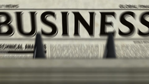 Business review newspapers printing loopable Animation