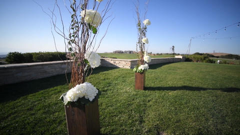 Flower decoration, wedding outdoors, wedding decoration.Wedding ceremony Live Action
