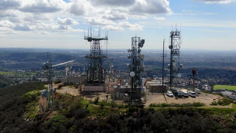 Aerial view of telecommunication antennas on the top of Mountain Live Action