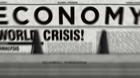 Economy and business newspapers with world crisis printing loopable Videos animados