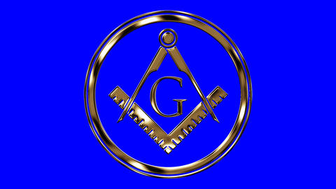 Golden Free Mason Symbol on a Blue Screen Background Live Action