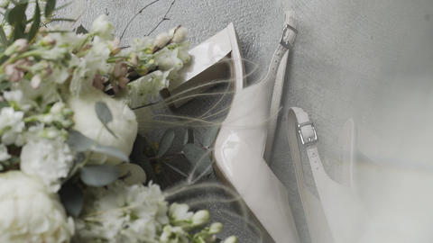 Beautiful and stylish wedding accessories for the bride on her wedding day Live Action