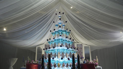 Beautiful champagne pyramid at a celebration for guests Live Action