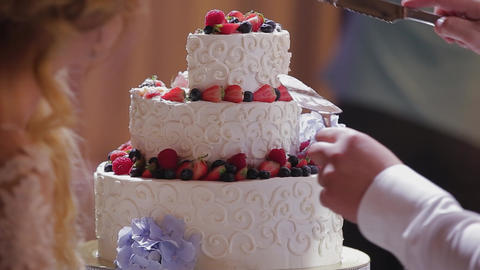 Happy newlyweds cut a wedding cake at a celebration Live Action