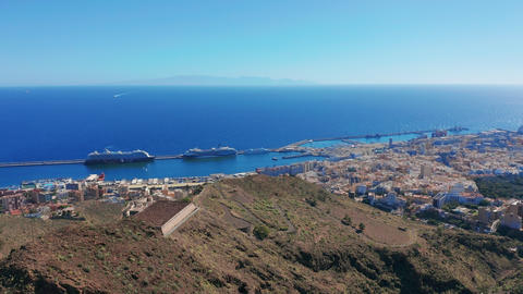 Aerial view. the city of Santa Cruz de Tenerife. The capital of the Canary Live Action