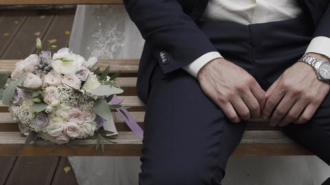 Happy man with a wedding bouquet on a wedding day Live Action