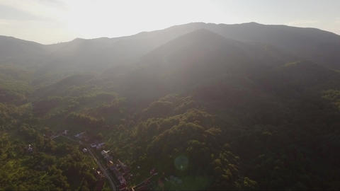 Aerial backlight sunset view Carpathian mountains Live Action