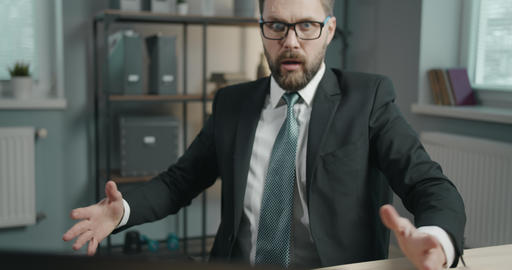 Shocked and Scared Businessman in Office Live Action