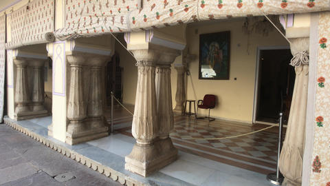 Jaipur, India - City Palace and original columns in the recreation area Live Action