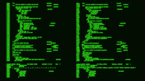 Green Hacker Text - Database Encryption Decryption Motion Background Animation