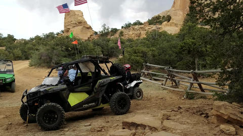 Off road 4x4 recreation vehicles scenic view Utah desert mountain 4K Footage