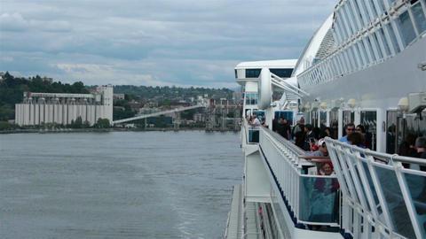 On Board cruise ship leaving Seattle port passengers walk HD 6878 Footage
