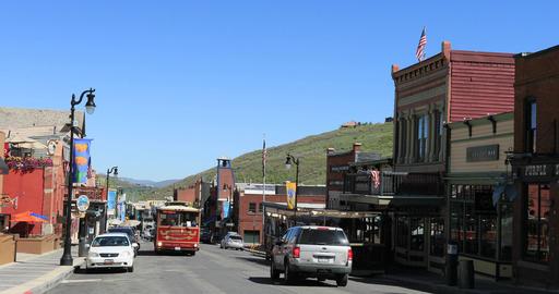 Park City Utah historic Main Street free shuttle bus DCI 4K Footage