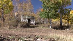 Recreation 4x4 RZR drives past mountain cabin autumn 4K Footage