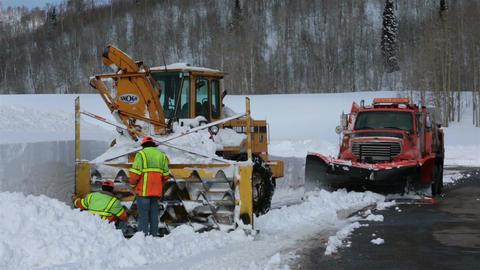 Repairing broken winter mountain snow blower HD 2325 Footage