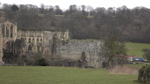Rievaulx Abbey Cathedral ruins England rural pan 4K 032 Footage