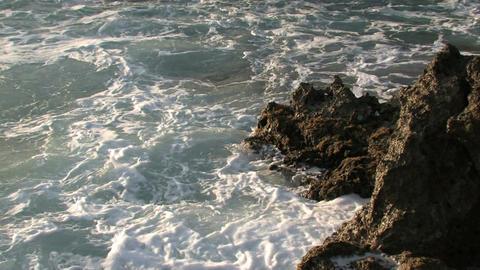 Rugged ocean rocks surf Maui Hawaii M HD Footage