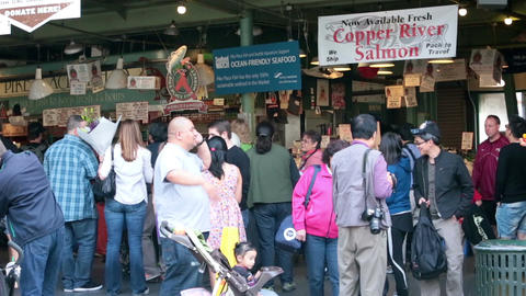 Seattle fish market downtown crowd HD 6706 Footage