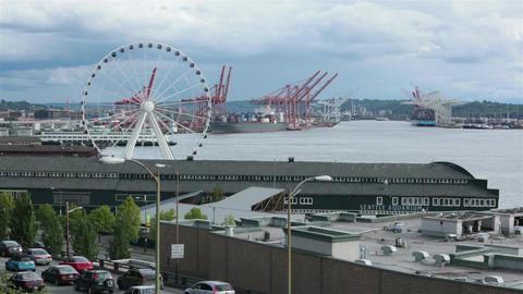 Seattle water front ferris wheel tourism center urban HD 6742 Footage