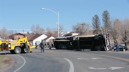 Semi truck trailer rollover accident flip fast HD 2443 Footage