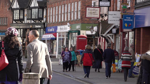 Shoppers market Stratford Upon Avon city center England 4K Footage