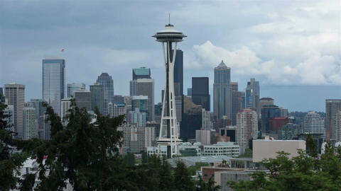 Space Needle urban Seattle city center HD 6766 Footage