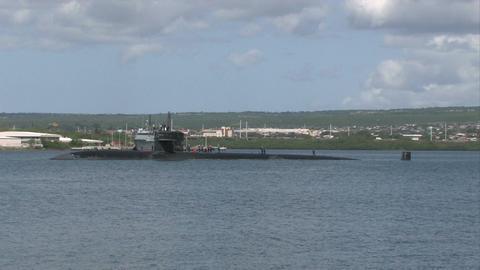 Submarine Pearl Harbor Navy Hawaii drift M HD Footage