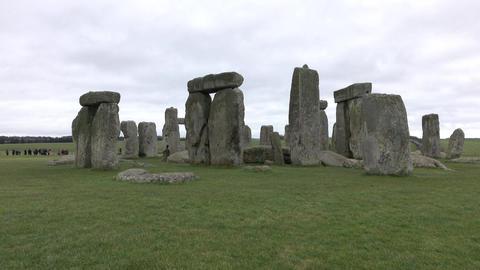 Tourists Prehistoric Stonehenge monument Amesbury England 4K Footage