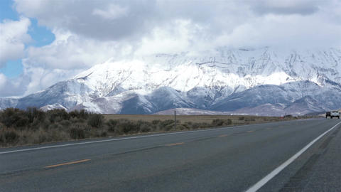 Truck drive valley road mountain snow winter HD 2394 Footage
