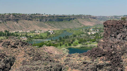 Twin Falls Idaho Snake River gorge golf course bridge HD 8041 Live Action