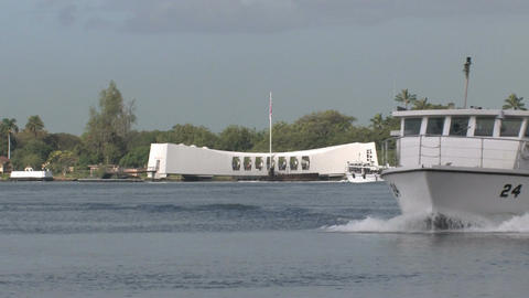 USS Arizona Memorial Pearl harbor Honolulu Hawaii 2 boat M HD Footage