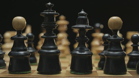 Chess board with classic wood pieces 007 Live Action