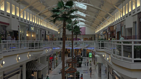 Urban city center shopping mall palm trees 4K 128 Footage