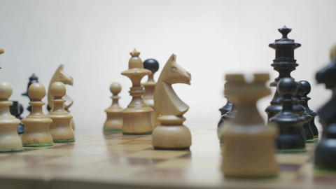 Chess board with classic wood pieces 015 Footage