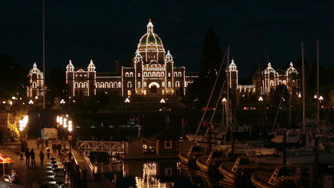 Victoria BC Canada Parliament Building marina at night HD 7941 Footage