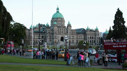 Victoria BC Canada Parliament Building tourist fast timelapse HD 7881 Footage