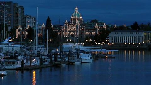 Victoria British Columbia Canada Parliament Building night HD 7915 Live Action