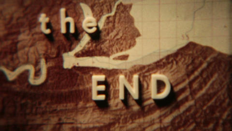Vintage film The End over map HD 0133 Live Action
