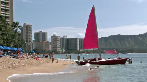 Waikiki Beach catamaran hotels Hawaii vacation recreation HD Footage