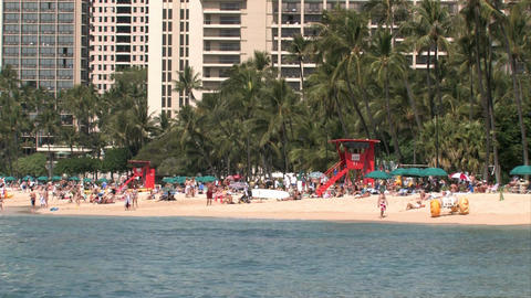 Waikiki Honolulu Hawaii Beach tourists swimming vacation M HD Footage