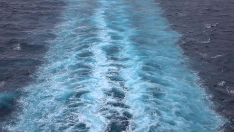 Wake behind cruise ship beautiful Caribbean Ocean 4K Footage