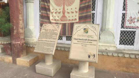 Jaipur, India, November 05, 2019, Amer Fort, tourist information boards in front Live Action