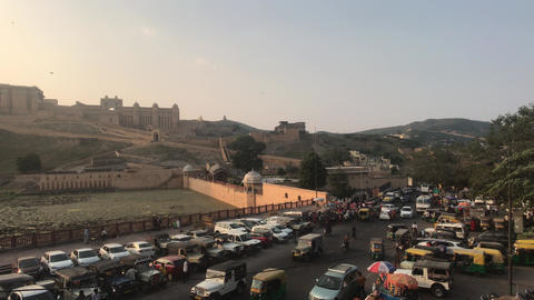 Jaipur, India, November 05, 2019, Amer Fort, tourists drive up by transport to Live Action