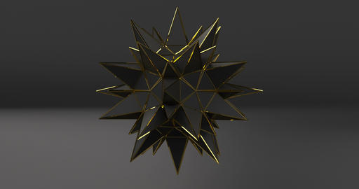 3d black polygon star on black background. Abstract 3d background. Luxury Live Action