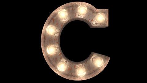 rusty steel blinking light bulb letters C 2 Animation