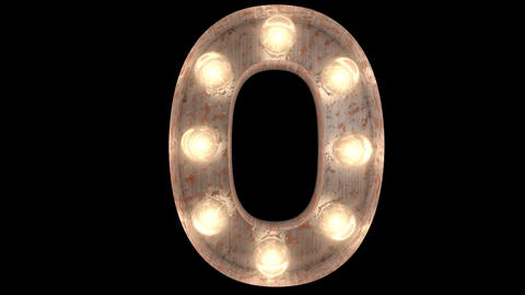 rusty steel blinking light bulb letters 0-2 Animation