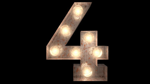 rusty steel blinking light bulb letters 4-2 Animation